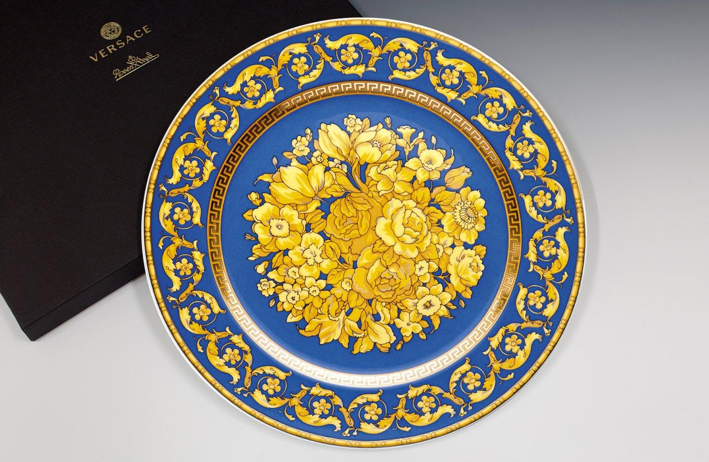 Floralia Blue 20th Anniversary Wall Plate 30 Cm Versace