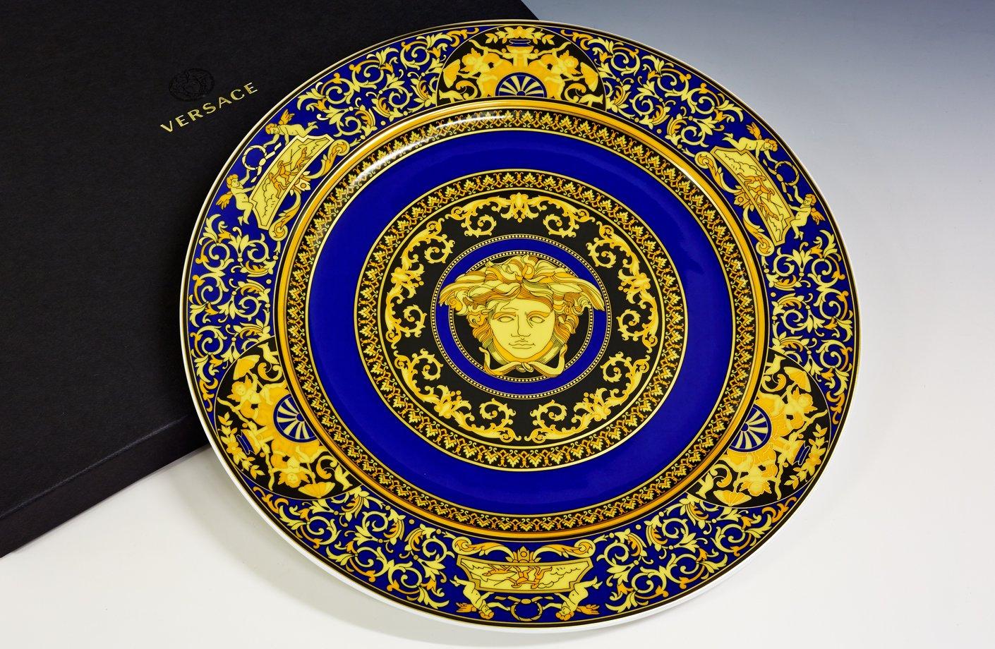 Medusa Blue Wall Plate 30 Cm Versace Home Australia